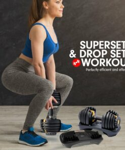 48KG POWERTRAIN ADJUSTABLE DUMBBELL SET WITH STAND - GOLD 8